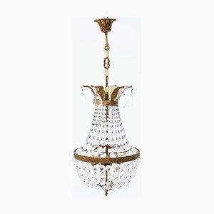 Lampadario grande a tre braccia in bronzo dorato e cristallo, anni '60