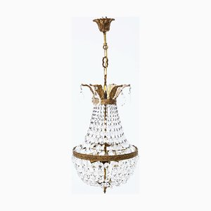 Large 4-Armed Ormolu Brass and Crystal Basket Chandelier, 1960s