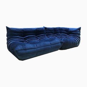 Blaue Vintage Samtsofas von Michel Ducaroy für Ligne Roset, 2er Set