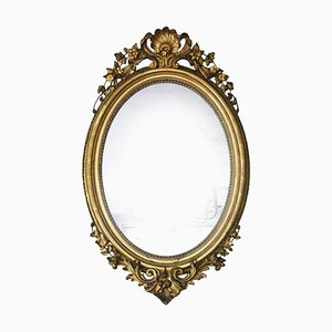 Large Antique Oval Wall Gilt Mirror
