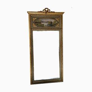 Großer antiker Trumeau Spiegel mit vergoldetem Rahmen