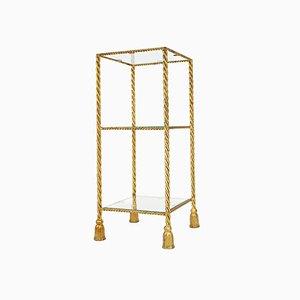 Consola italiana Hollywood Regency de cuerda y borla dorada, años 60