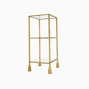Italian Hollywood Regency Gold Twisted Rope & Tassel Console Table, 1960s