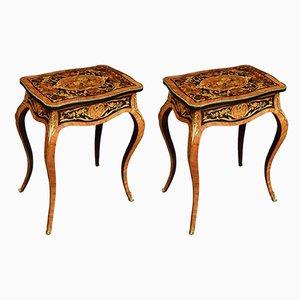 Mesas auxiliares antiguas de madera real. Juego de 2