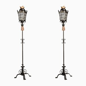 Antique Wrought Metal Floor Lamps, Set of 2
