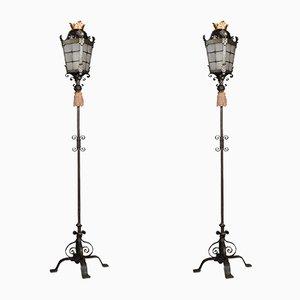 Antique Wrought Metal Floor Lamps, Set of 2