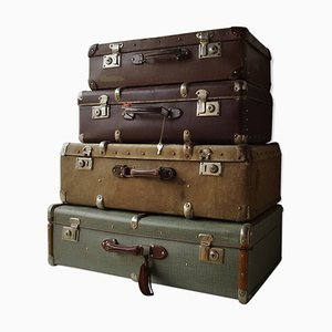 Vintage Suitcases, 1950s, Set of 4