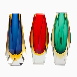 Multi Colored Murano Glass Vases, 1970s, Set of 3