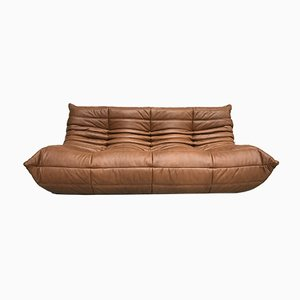 Dark Cognac Leather Togo Sofa by Michel Ducaroy for Ligne Roset, 1970s