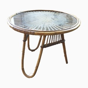 Vintage Rattan & Glass Coffee Table, 1960s