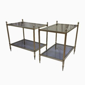 Brass Nightstand Tables, 1950s, Set of 2