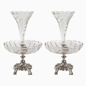 Antique Silvered and Crystal Metal Vases, Set of 2