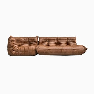 Dark Cognac Leather Togo Sofas Living Room Set by Michel Ducaroy for Ligne Roset, 1970s