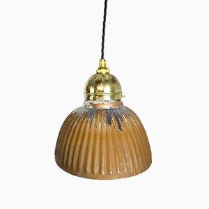 Mid-Century Deckenlampe aus Silberglas