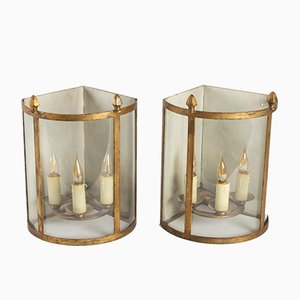 Golden Iron Corner Table Lamps, 1950s, Set of 2