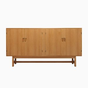 Danish Modern Oak, Brass and Leather Cabinet by Kurt Østervig for K.P, 1960s