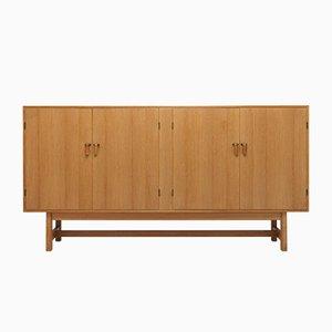 Modernes dänisches Sideboard aus Eiche, Messing & Leder von Kurt Østervig für K.P, 1960er