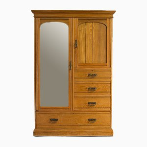 Antique Oak & Linen Wardrobe by Howard and Sons of London
