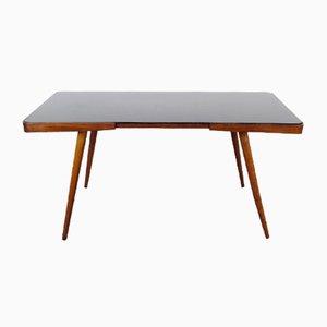 Tavolino da caffè Mid-Century in vetro e legno, anni '60