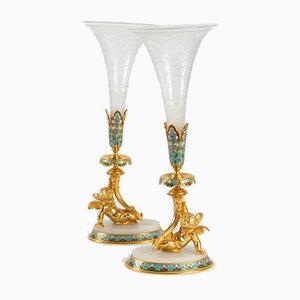 Antique Golden Bronze and Engraved Crystal Bouquetières Vases, Set of 2