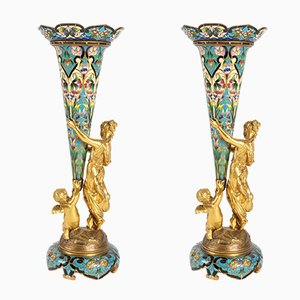 Antique Golden Bronze Bouquetières Vases, Set of 2