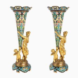 Vases Bouquetières Antiques en Bronze Doré, Set de 2