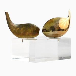 Moderne Bronzeskulptur von Serge Mansau für Monique Gerber, 1970er