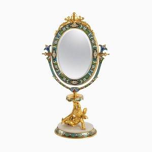 Antiker Tischspiegel aus goldener Bronze & Onyx