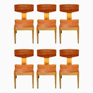 Esszimmerstühle aus Teak & Ahorn, 1950er, 6er Set