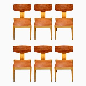 Teak and Maple Dining Chairs, 1950s, Set of 6