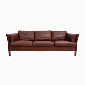 Danish Leather 3-Seater Sofa from Mogens Hansen, 1960s