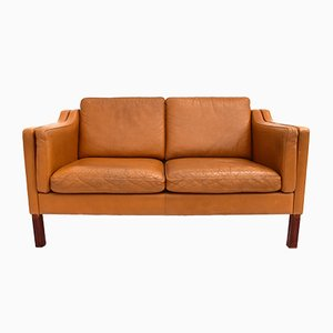 Caramel Tan Leather 2-Seater Sofa, 1960s