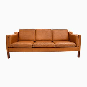Caramel Tan Leather 3-Seater Sofa, 1960s