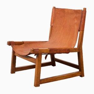 Sessel mit Gestell aus Eiche & cognacfarbenem Ledersitz von Paco Muñoz, 1950er