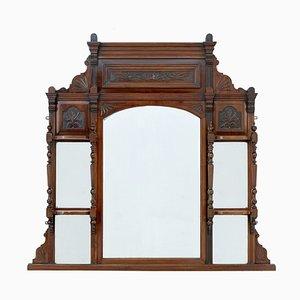 Antique Edwardian Carved Walnut Mirror