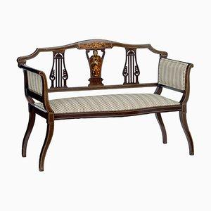 Antikes edwardianisches Sofa aus Palisander mit Intarsien