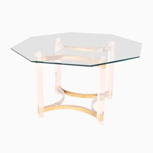 Lucite, Brass, and Chrome Dining Table by Alessandro Albrizzi, 1970s