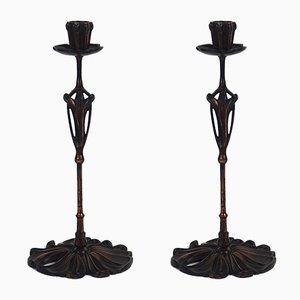 Antike Kerzenständer von De Feure für Bing, 2er Set
