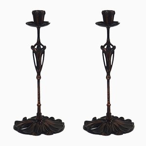 Antique Candle Holders by De Feure for Bing, Set of 2