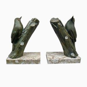 Art Deco Marble Bird Bookends, 1940s, Set of 2