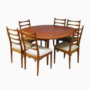 Tavolo da pranzo in quercia di Greaves & Thomas, anni '60, set di 7