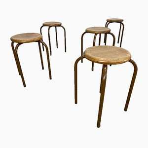 Vintage Round School Stools, Set of 6