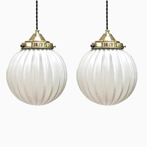 Glass Ceiling Lamps, 1960s, Set of 2
