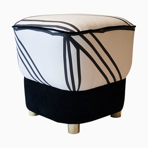 Mid-Century Italian Black and White Stool, 1950s