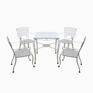 Garden Chairs and Table Set, 1960s, Set of 5