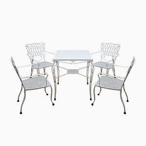 Tavolo da giardino e sedie, anni '60, set di 5