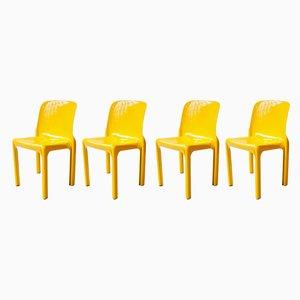 Gelbe Selene Esszimmerstühle von Vico Magistretti für Artemide, 1968, 4er Set
