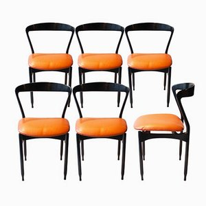 Sedie da scrivania Mid-Century nere ed arancioni di Gigi Radice, anni '50, set di 6