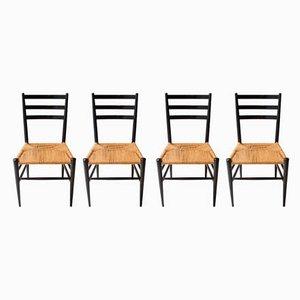 Chaises de Salle à Manger Mid-Century Laquées Noires, Italie, 1950s, Set de 4