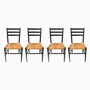Mid-Century Italian Black Lacquered Dining Chairs, 1950s, Set of 4